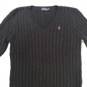 Ralph Lauren Polo Sweater Black Womens lg